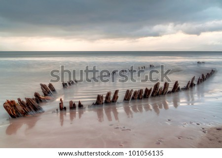 The ship wreck on the Rossbeigh beach, Ireland