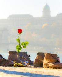 The Shoes Jewish Memorial on the Danube Bank. Budapest, Hungary