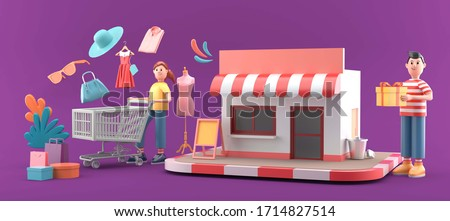 The shop is surrounded by shopping bags ,buyer and clothes on a purple background.-3d rendering.