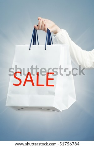 The shopping bag on the blue background