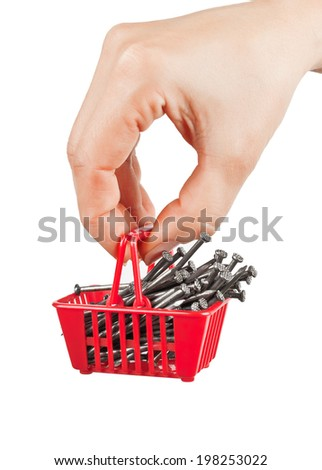 The shopping cart with nails in his hand on a white background