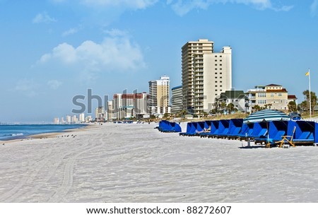 The shoreline of a beach at Panama City Beach, Florida. - stock photo