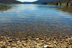 The shoreline of Quaker Lake at Allegany State Park.