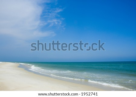 The shoreline of the Gulf of Mexico on a sunny day