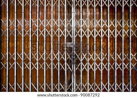 The shot of old-age folding door.