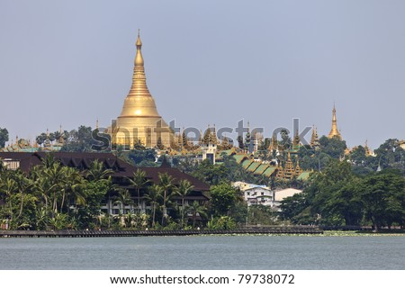 The Shwedagon Pagoda seen from Kandawgyi Lake, Yangon, Burma, Myanmar, Southeast Asia