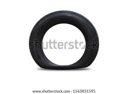 The side tires, flat tires separated from the background, white technology, clipping part