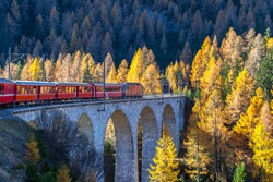 The sightseeing train bernina express of Rhaetian Railway running on the Viaduct with view of colorful trees on a sunny autumn day, Canton of Grisons, Switzerland