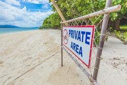 The sign at Rang Yai island, Phuket, Thailand.