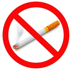 The sign no smoking. Illustration on white background no smoking sign with cigarette