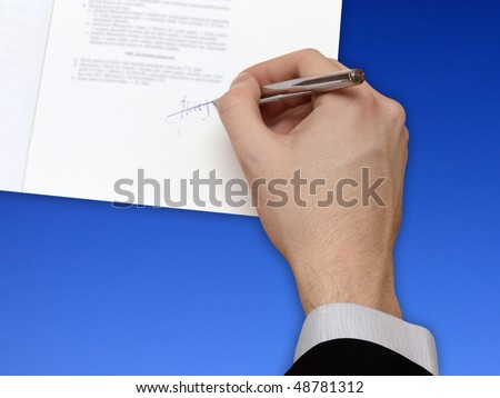 The Signature of Business Contract front of the blue Sky