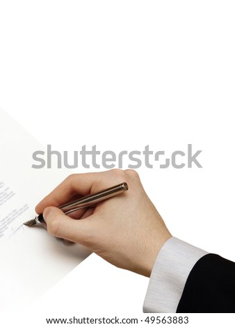 The Signature of Business Contract isolated on the white Background