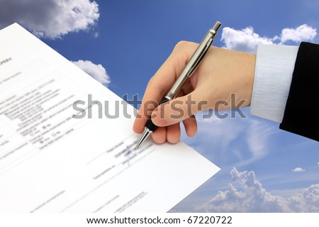 The Signature of Business Contract on the blue Sky