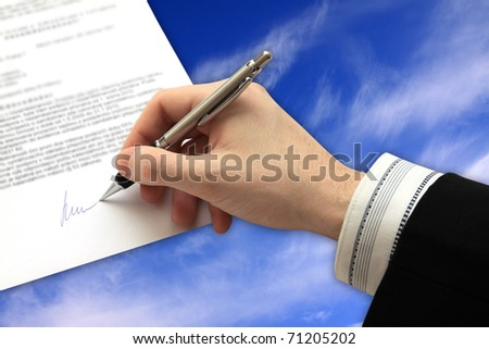 The Signature of Business Contract on the cloudy Sky