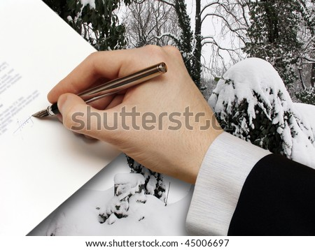 The Signature of Business Contract on the snowy Background