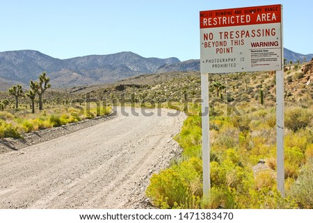 The Signs at the entrance to Area 51, Groom Lake, Nevada #1471383470