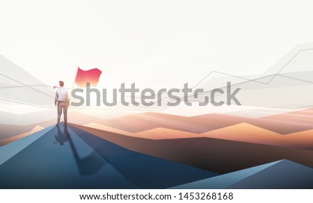 The silhouette of a businessman holding a flag on the mountain, the sky and the background of the sun light Business concept, success, leadership, success and people