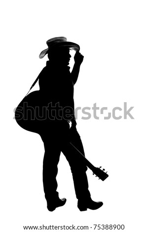 The silhouette of a cowboy which is a country singer and guitar player, isolated on white. He is holding his hand on his hat and the guitar is with the strap on his shoulder.