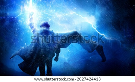 The silhouette of a fantasy hero with a long cloak fluttering in the wind, he confidently goes forward raising his fist up, which is hit by bright lightning, torrential rain pours on him 2d art