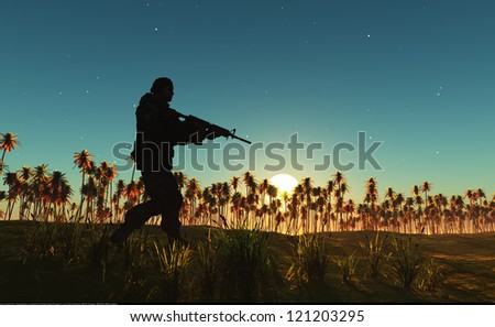 The silhouette of a soldier against the sky - stock photo