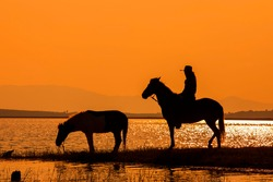 The silhouette of cowboy on horse with sunset landscape background,Cowboy on horseback
