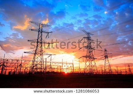 The silhouette of pylon, the pylon in the evening #1281086053