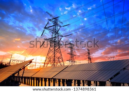 The silhouette of pylon, the pylon in the evening #1374898361