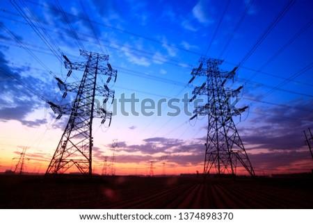 The silhouette of pylon, the pylon in the evening #1374898370