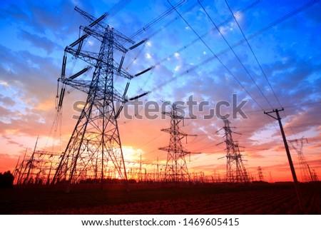 The silhouette of pylon, the pylon in the evening #1469605415