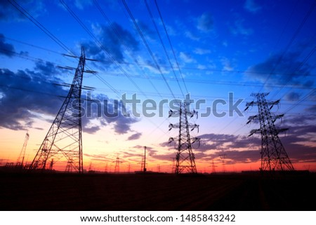 The silhouette of pylon, the pylon in the evening #1485843242