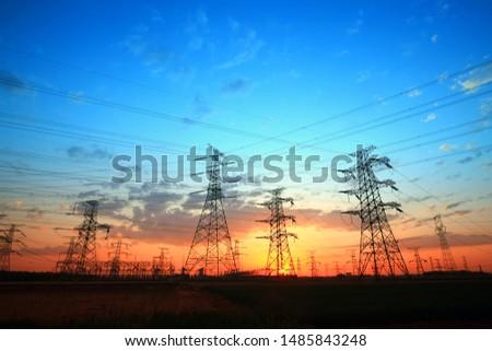 The silhouette of pylon, the pylon in the evening #1485843248