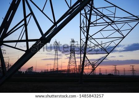 The silhouette of pylon, the pylon in the evening #1485843257
