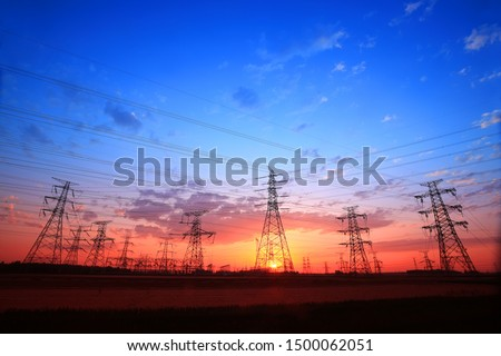 The silhouette of pylon, the pylon in the evening #1500062051