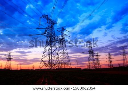 The silhouette of pylon, the pylon in the evening #1500062054
