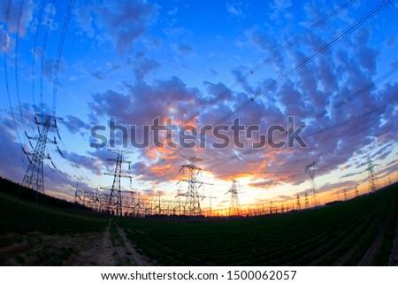 The silhouette of pylon, the pylon in the evening #1500062057