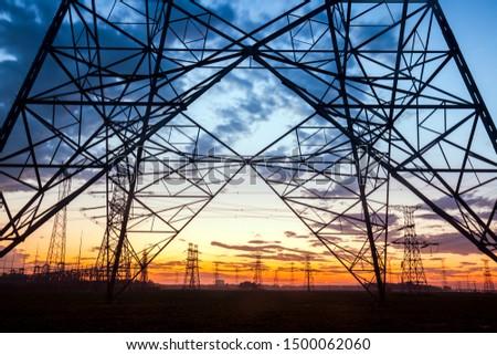 The silhouette of pylon, the pylon in the evening #1500062060