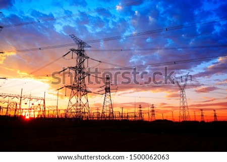The silhouette of pylon, the pylon in the evening #1500062063