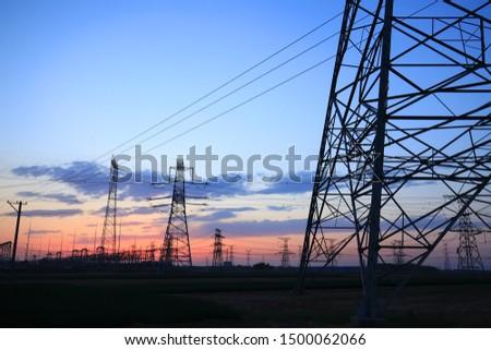 The silhouette of pylon, the pylon in the evening #1500062066