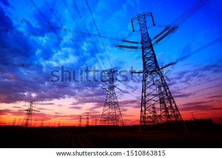 The silhouette of pylon, the pylon in the evening #1510863815