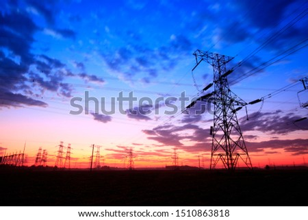 The silhouette of pylon, the pylon in the evening #1510863818