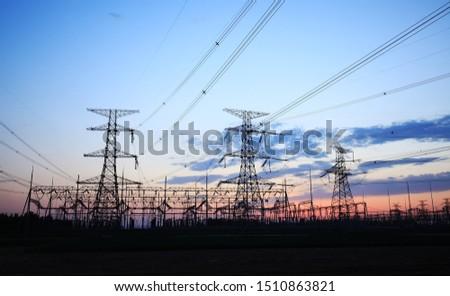 The silhouette of pylon, the pylon in the evening #1510863821