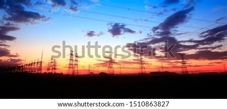 The silhouette of pylon, the pylon in the evening #1510863827