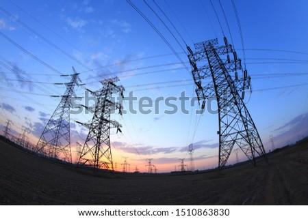 The silhouette of pylon, the pylon in the evening #1510863830