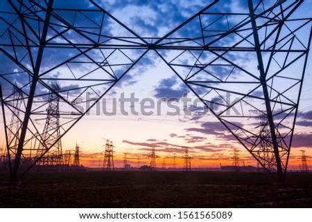 The silhouette of pylon, the pylon in the evening #1561565089
