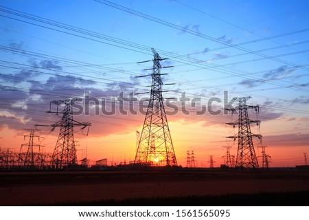 The silhouette of pylon, the pylon in the evening #1561565095