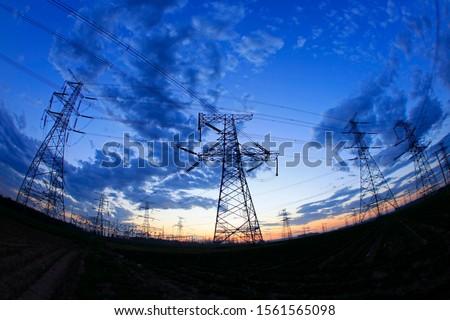 The silhouette of pylon, the pylon in the evening #1561565098