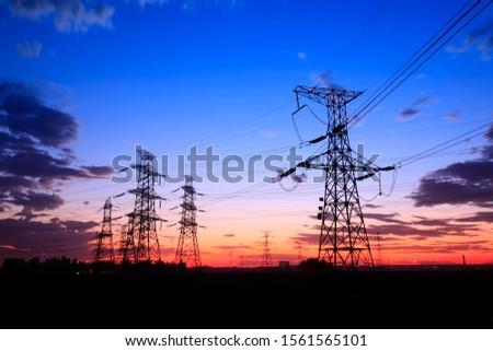The silhouette of pylon, the pylon in the evening #1561565101