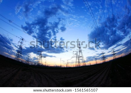 The silhouette of pylon, the pylon in the evening #1561565107
