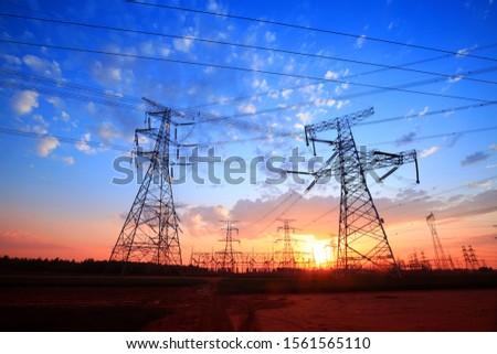 The silhouette of pylon, the pylon in the evening #1561565110