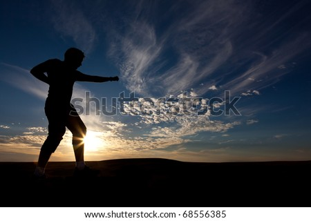 The silhouette of the guy against a decline, the beautiful sky, is engaged in martial arts